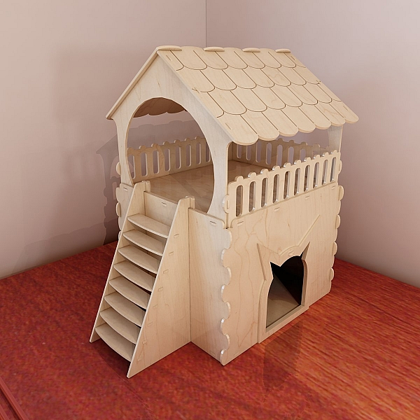 laser cut wood box template - cat house pattern for cnc router and laser cutting wooden